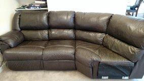 Brown all leather 3 sectional couch (Hide a bed and recliner built in) in Kirtland AFB, New Mexico