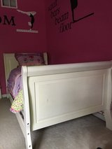 Land Of Nod Oak Sleigh Bed and Child's Comforter in Aurora, Illinois