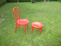 lovely old red painted chair + stool in Ramstein, Germany