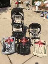Graco Stroller, Car Seat, and 3 Click Connect Car Seat Bases in Aurora, Illinois