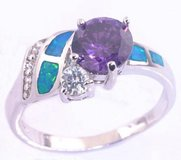 New - Blue Fire Opal, Zircon and Amethyst Ring - Sizes 7, 8 and 9 in Alamogordo, New Mexico