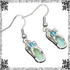New - Dainty Turtle Flip Flop Blue and White Fire Opal Earrings in Alamogordo, New Mexico