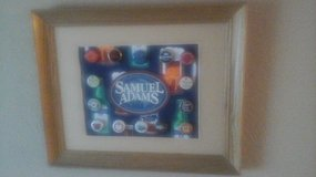 Bar Man Cave Wooden Framed Picture Samuel Adams & Variety Of Beer Brands Bottle Caps in Glendale Heights, Illinois