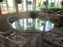 Rattan Glass Top Table & 4 Arm Chairs,   very heavy thick glass top in Cherry Point, North Carolina