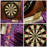 DART BOARD WITH FRAME AND SIX METAL TIP DARTS in Fort Leavenworth, Kansas
