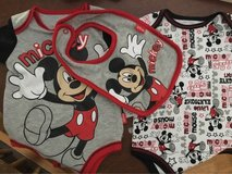 Mickey Mouse onesies and bib 0-3 months in Stuttgart, GE