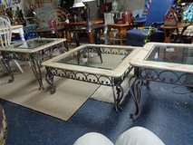 coffee table w/2 end tables granite and glass tops w/heavy wrought iron bottoms like new in Wilmington, North Carolina