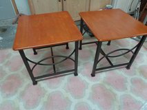 pair of wrought iron solid wood end table 22 by 20 by 19 tall in Wilmington, North Carolina