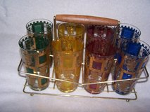 Set of 8 colorful glasses in carrier $45.00. in Macon, Georgia