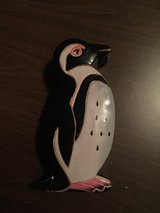 Leather penguin bank in Plainfield, Illinois