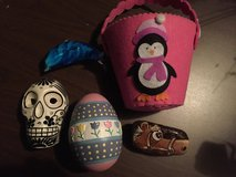 Felt penguin , skull, glass dolphin , decor egg, horse rock in Plainfield, Illinois
