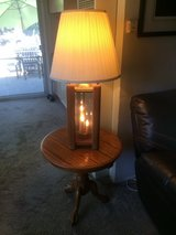 2 Oak Tables/2 Oak Lamps w/candle lights in Travis AFB, California