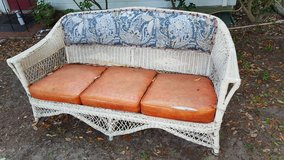 Antique Heavy Wicker Setee Sturdy Outdoor Sofa in Beaufort, South Carolina