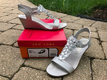 "New York Transit ""Got Glass"" wedge sandals - silver, size 8.5 in Bolingbrook, Illinois"