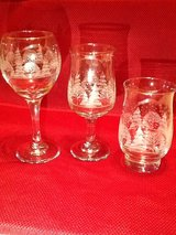 Winter etched scene set of 12 glasses in Westmont, Illinois