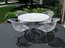 4 White Vintage Wrought Iron Chairs and Table Set-Meadowcraft in Batavia, Illinois