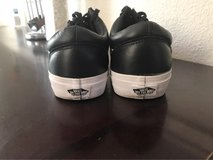 Black and white zip up leather vans (size 10) in Beale AFB, California