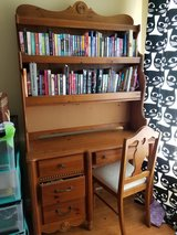 Solid Wood desk with bookshelf and chair in Elgin, Illinois