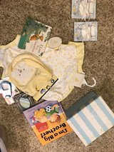 Updated Photo- basket is wrapped and ready now! baby boy gift basket in Joliet, Illinois