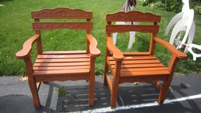Two beautiful outdoor carved wood arm chairs (Naperville) in Glendale Heights, Illinois