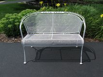 Vintage Woodard Wrought Iron 'Briarwood' Barrel Bench in Aurora, Illinois