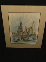 Pat Coffman Huss Original Watercolor Painting Harbor Scene Signed in Chicago, Illinois