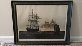 Silk Screen Print of Ships Boats by Elton Bennett Down to the Sea in Westmont, Illinois
