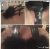 Black leather and fur heels in Yucca Valley, California