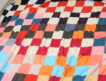 Vintage Handmade Scrap Quilt Bed Spread 10' x 10' Red Orange Blue Green in Kingwood, Texas