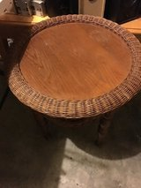 Wicker and wood table in Sandwich, Illinois