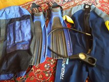 scuba fins, gauge, suit, and travel bag in Stuttgart, GE