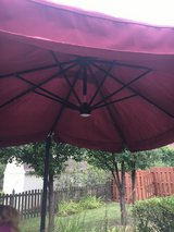 Large umbrella with solar lights in Sugar Grove, Illinois