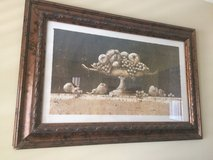 Large rustic vintage distressed Greek / Roman framed fruit bowl wall art painting with glass!! in Glendale Heights, Illinois