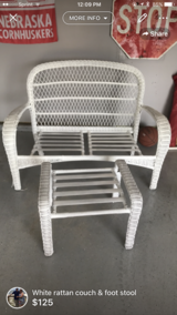 White rattan bench & footstool in Biloxi, Mississippi