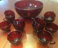 Vintage glass ruby red punchbowl set 12 cups in Beaufort, South Carolina