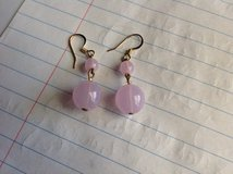 Purplish pink bead earrings in Fort Riley, Kansas