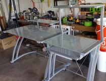 Desk 2 Piece Set Tempered Frosted Glass and Metal Like New Condition in Alamogordo, New Mexico