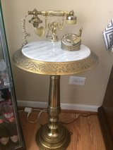 Vintage Antique marble top french brass rotary telephone pedestal stand in Oswego, Illinois