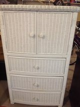 White wicker furniture from Pottery Barn in Watertown, New York