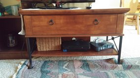 TV Stand Dark Wood with Black Metal Legs and handle in Lockport, Illinois