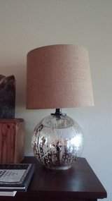 2 New Glass and Gold Table Lamps Burlap Shades Ball Base in Lockport, Illinois