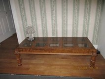 Wood Coffee Table with Glass Inserts in DeKalb, Illinois