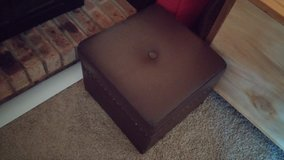 Foot Rest Ottoman Dark Brown Leather with brace studs with storage space in Westmont, Illinois