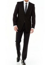 48R 34x34 Men's Adolfo Slim-Fit Black Suit Jacket Dress Pants Prom Homecoming in Kingwood, Texas