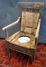 Early to Mid 1800s Antique Wooden Throne with Chamber Pot in Ramstein, Germany