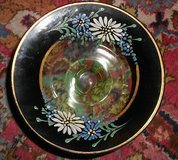 Vintage Hand Painted Floral Green Depression Glass Dish in Elgin, Illinois