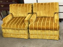 2 Yellow Retro Upholstered Arm Side Chairs by State of Newburgh. in Chicago, Illinois