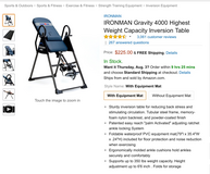 Inversion table in Fort Drum, New York