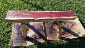 Cedar bench in Fort Leonard Wood, Missouri
