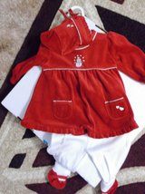 6 month Red velvet Christmas outfit with hat in Alamogordo, New Mexico